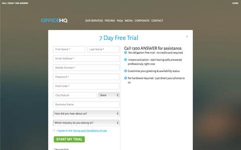 Screenshot of Signup Page officehq.com.au - Try our virtual receptionist free for 7 days - captured June 18, 2017