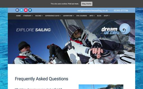 Screenshot of FAQ Page dreamortwosailing.co.uk - FAQ - Dream or Two Sailing - all you need to know - captured March 2, 2016