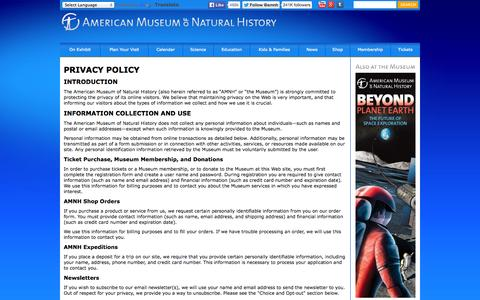 Screenshot of Privacy Page amnh.org - American Museum of Natural History - captured Sept. 18, 2014
