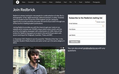 Screenshot of Signup Page redbrick.me - Get involved with Redbrick |  Redbrick | University of Birmingham - captured Oct. 7, 2014