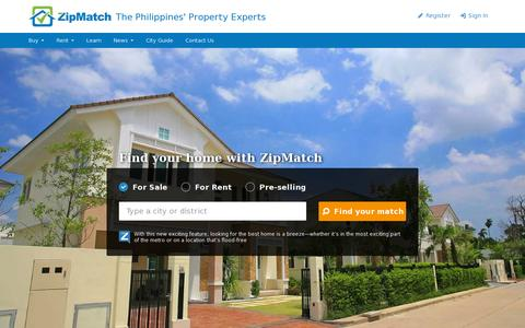 Screenshot of Home Page zipmatch.com - Philippines Property Search, Listing & Real Estate Investing - captured July 11, 2014