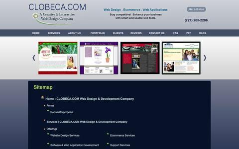 Screenshot of Site Map Page clobeca.com - Sitemap | Clobeca Web Design & Development Company | Ecommerce website designer - captured Oct. 2, 2014