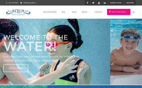 Screenshot of Home Page theaqualife.ca - The Aqua Life Swim Academy | Swimming Lessons for all ages | Ottawa - captured Dec. 10, 2016