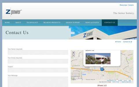 Screenshot of Contact Page zmp.com - Contact Us | ZPower Battery - captured Sept. 17, 2014