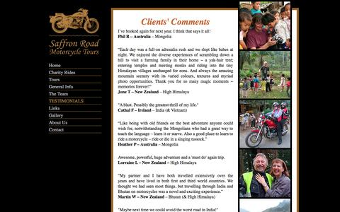 Screenshot of Testimonials Page saffronroad.com - Saffron Road Motorcycle Tours - What our client's say about us - captured Oct. 4, 2014