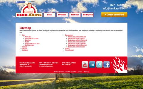 Screenshot of Site Map Page henkaarts.com - Henk Aarts Barbecue & Buffet | Sitemap | v.a. €7,95 p.p. Bestel online! - captured Sept. 29, 2014
