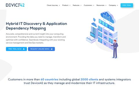 Screenshot of Home Page device42.com - Data Center Management and Network Management Software from Device42 Software - captured Aug. 18, 2019