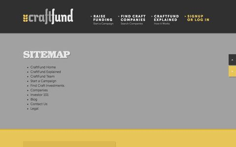 Screenshot of Site Map Page craftfund.com - CraftFund | Crowdfunding for the Craft Beer & Craft Food Communities - captured Oct. 3, 2014