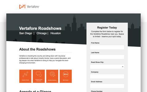 Screenshot of Landing Page vertafore.com - Vertafore Roadshows | Vertafore - captured Aug. 31, 2017