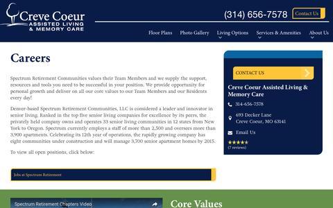 Screenshot of Jobs Page spectrumretirement.com - Careers At Creve Coeur Assisted Living & Memory Care - captured Jan. 23, 2017
