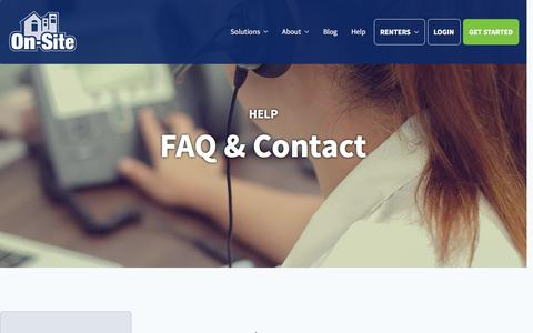 Screenshot of Contact Page on-site.com - FAQ & Contact | On-Site - captured Feb. 2, 2017