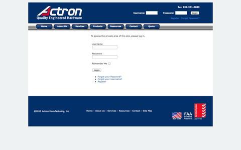 Screenshot of Products Page actronmfginc.com - Login - captured Oct. 4, 2014