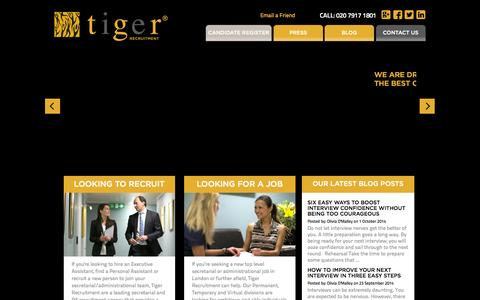 Screenshot of Home Page tiger-recruitment.co.uk - Recruitment Agency London Hire & Find An Executive & Personal Assistant - captured Oct. 10, 2014