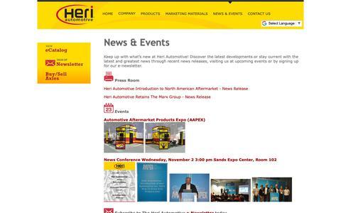 Screenshot of Press Page heriautomotive.com - Heri Automotive, Inc.   Premium-Quality 100% New Constant Velocity Drive Axle Supplier    News - captured Sept. 28, 2018