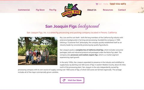 Screenshot of About Page nutrafig.com - San Joaquin Figs | About Us - captured Oct. 4, 2017