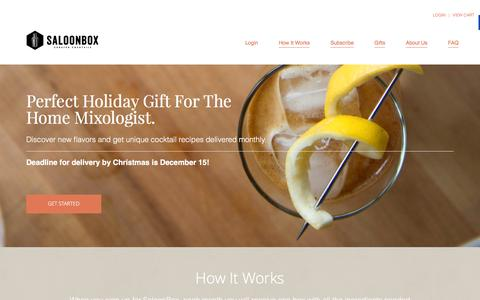 Screenshot of Home Page saloonbox.com - SaloonBox Cocktail Delivery Subscription Box - captured Dec. 15, 2015