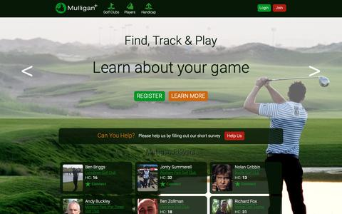 Screenshot of Home Page mulliganplus.com - Find Track Play Golf   Golf Handicap   Golf Courses   Offers   Your golf scores with Mulligan+ - Mulligan Plus Online Golf - captured Oct. 19, 2018