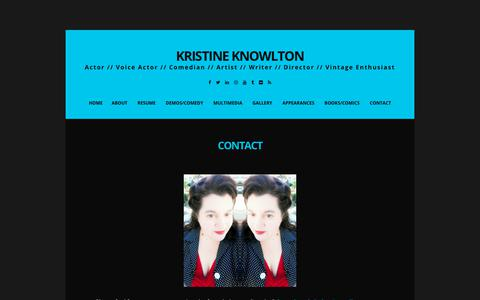 Screenshot of Contact Page kristineknowlton.com - Contact | Kristine Knowlton - captured Oct. 16, 2018