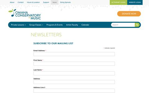 Screenshot of Signup Page omahacm.org - Newsletters | Omaha Conservatory of Music - captured July 3, 2018
