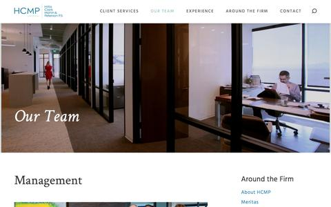 Screenshot of Team Page hcmp.com - Management | HCMP Law Offices | Seattle, WA - captured Aug. 7, 2017