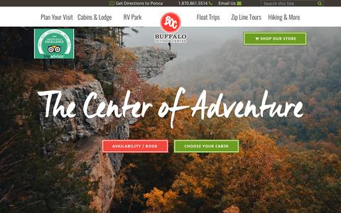 Screenshot of Home Page buffaloriver.com - Buffalo National River Cabins and Canoeing in         Beautiful Ponca, Arkansas - captured Oct. 6, 2018