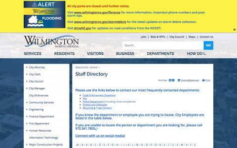 Screenshot of Contact Page wilmingtonnc.gov - Staff Directory | City of Wilmington, NC - captured Sept. 23, 2018