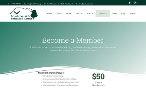 Screenshot of Signup Page merckforest.org - Memberships - Merck Forest & Farmland Center - captured Oct. 17, 2018