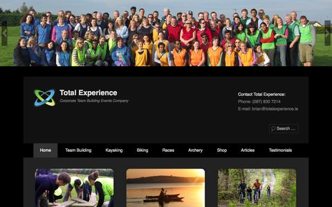 Screenshot of Home Page Menu Page totalexperience.ie - Team Building Activities, Corporate Events, Adventure Races - captured Oct. 7, 2014