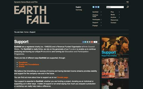 Screenshot of Support Page earthfall.org.uk - Earthfall   » Support - captured Sept. 27, 2014