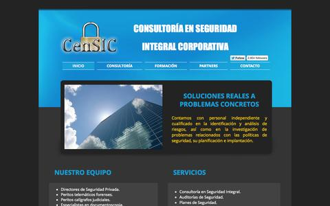 Screenshot of Home Page censic.net - CenSIC Consultoría en Seguridad Integral Corporativa - captured Sept. 29, 2014