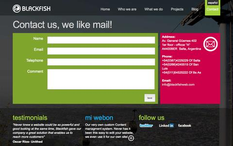 Screenshot of Contact Page blackfishweb.com - Blackfish Web - Contact - captured Sept. 30, 2014