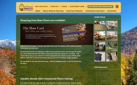 Screenshot of Press Page milfordflooring.com - News - Milford FlooringMilford Flooring - captured Sept. 30, 2014