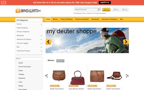 Screenshot of Home Page bagwati.com - Bagwati.Com | Buy Bags Online | Leather Bags | Ladies Handbags | Trav - captured Jan. 15, 2016