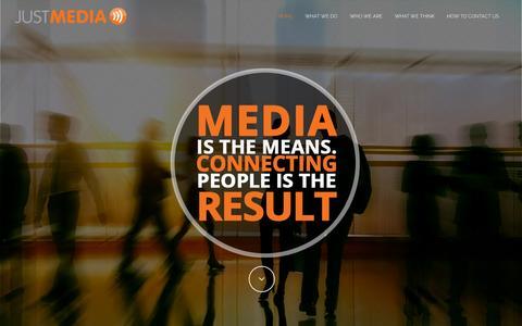 Screenshot of Home Page justmedia.com - Just Media Inc. - captured Sept. 8, 2015