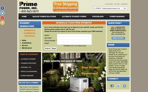 Screenshot of Home Page primepowerenergy.com - Standby Generators   Backup Generators - Prime Power Inc. - captured Jan. 31, 2016