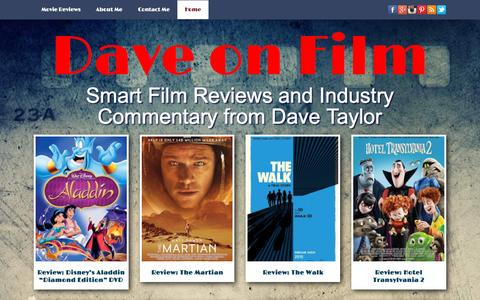 Screenshot of Home Page daveonfilm.com - Dave On Film: Smart Movie Reviews from Dave Taylor - captured Oct. 11, 2015
