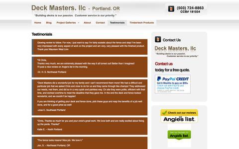 Screenshot of Testimonials Page deckmastersnw.com - Testimonials | Deck Masters, llc - Portland, OR - captured May 14, 2016