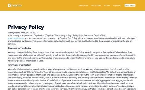 Privacy Policy | Capriza