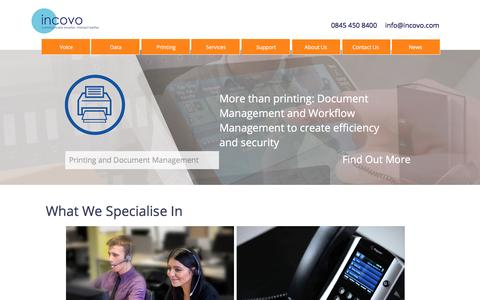 Screenshot of Home Page incovo.com - incovo | Avaya Business Phones, VoIP, Multifunctional Devices, Scotland - captured Nov. 26, 2016