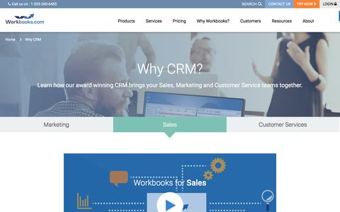 Screenshot of Products Page workbooks.com - Why CRM? | Workbooks - captured Oct. 22, 2017
