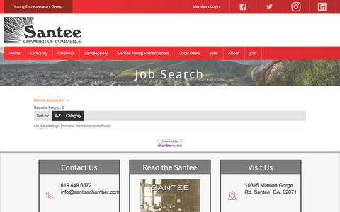 Screenshot of Jobs Page santeechamber.com - Job Search - Santee Chamber - captured Jan. 17, 2017
