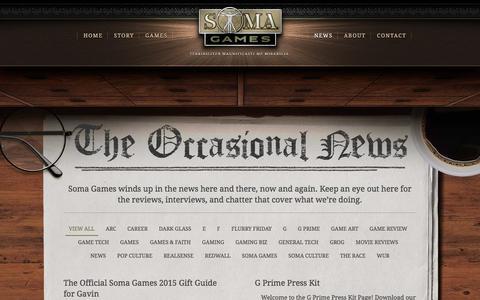 Screenshot of Press Page somagames.com - News - Soma Games - captured Jan. 12, 2016