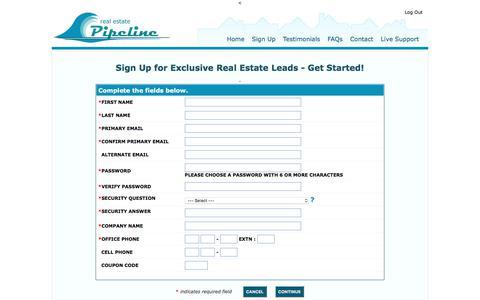 Screenshot of Signup Page realestatepipeline.com - Sign Up For Real Estate Leads - Get Started! - captured Nov. 12, 2017