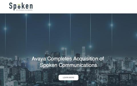 Screenshot of Home Page spoken.com - Avaya Completes Acquisition of Spoken Communications - captured May 16, 2018