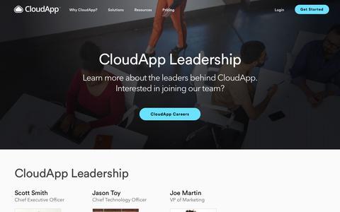 Screenshot of Team Page getcloudapp.com - Leadership Team | CloudApp - captured June 30, 2019