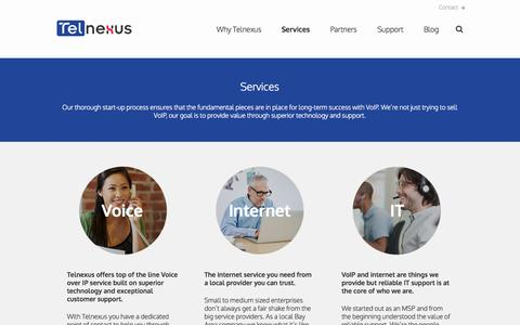 Screenshot of Services Page telnexus.com - Telnexus - Services - captured Aug. 11, 2015