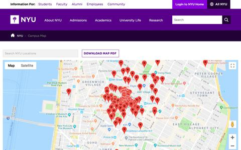 Screenshot of Maps & Directions Page nyu.edu - Campus Map - captured Sept. 19, 2018