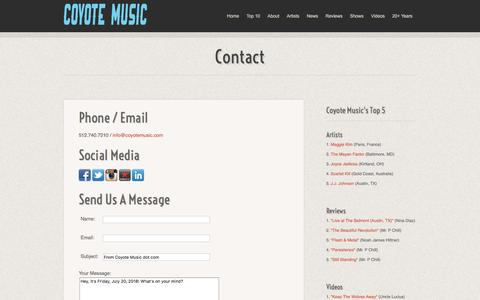 Screenshot of Contact Page coyotemusic.com - Contact :: Coyote Music - captured July 21, 2018