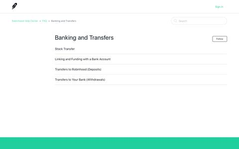 Banking and Transfers – Robinhood Help Center