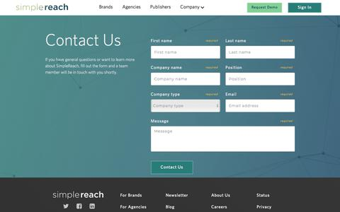 Screenshot of Contact Page simplereach.com - Contact Us | SimpleReach - captured July 13, 2018